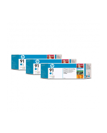 Tusz HP 91 cyan 3pack | 3x775ml