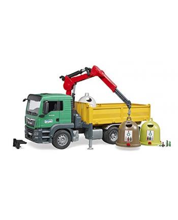 bruder MAN TGS wywrotka z żurawiem i kontenerami do segregacji odpadów, recyklingu 03753