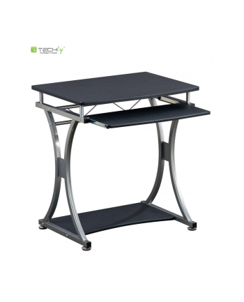 Techly Biurko komputerowe Compact 700x550 z półką na klawiaturę czarny grafit