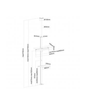 newstar Stand sufit podłoga na LCD z półką  FPMA-CF200SILVER