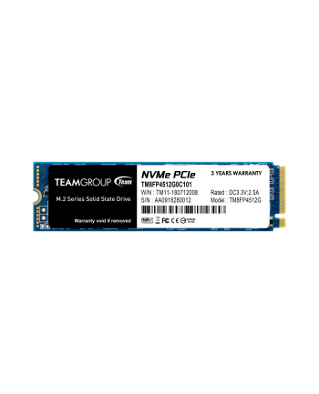 Team Group Dysk SSD MP34 512GB M.2 PCIe NVMe, 3000/1700 MB/s, IOPS 190/160K