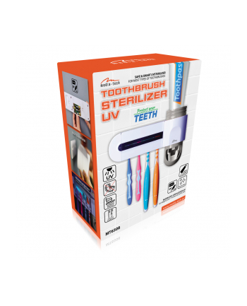 media-tech TOOTHBRUSH STERILIZER UV - Holder for 4 toothbrushes with UV sterilization