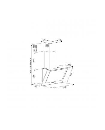 Okap kominowy CIARKO NTI 60 Biały (230 m3/h; 600mm; kolor biały)