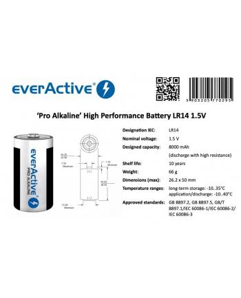 Zestaw baterii alkaliczne everActive EVLR14-PRO (x 2)