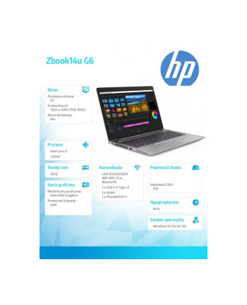 hp inc. Notebook Zbook14u G6 i7-8565U 1TB/16/W10P/14  6TP67EA