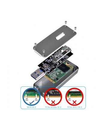 Silverstone SST-MS09C-MINI M.2 SATA external SSD Enclosure,USB 3.1 Gen2,charcoal