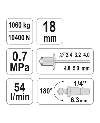 Nitownica pneumatyczny YATO YT-36171 (2 4 mm  3 2 mm  4 mm  4 8 mm  5 mm)