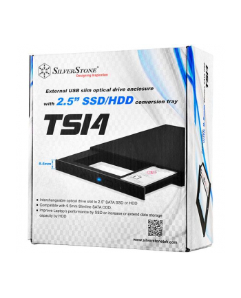 Silverstone SST-TS14B Adapter for 2.5 Inch SSD or HDD 9.5mm, black