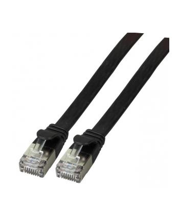 efb elektronik EFB Patch cord PŁASKI FLAT U/FTP, PVC, kat.6A 0.5m, miedź, czarny