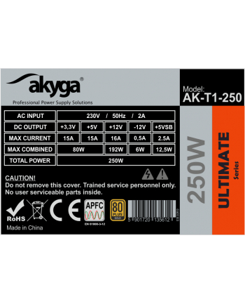 Akyga Zasilacz komputerowy TFX 250W AK-T1-250 80+ Gold 8cm Fan Active PFC APFC