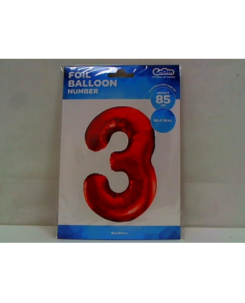 godan Balon foliowy Cyfra3 85cm czerwona BC-HCW3