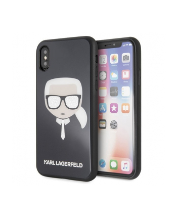 karl lagerfeld Etui hardcase iPhone X/Xs KLHCPXDLHBK czarny Iconic Glitter Karls Head