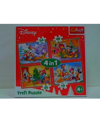 trefl Puzzle 4w1 Świąteczny czas /Disney Standard 34325