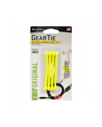 nite ize Zestaw linek Gear Tie Original 3 cale gumowy żółty neon 4 sztuki