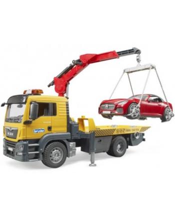 MAN TSG Pomoc drogowa z autem Roadster czerwonym i modułem L&S BRUDER