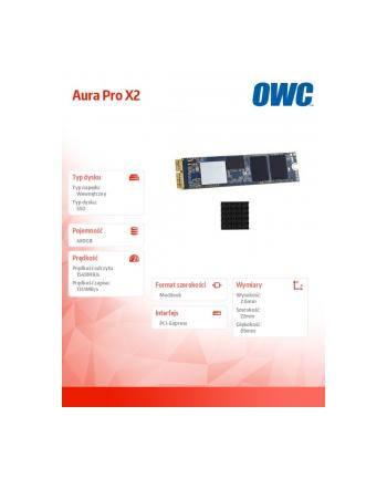 owc Dysk SSD Aura Pro X2 SSD 480GB 1549MB/s Mac Pro 2013 Heatsink