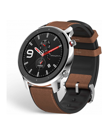 Xiaomi Huami Amazfit GTR, fitness Tracker(silver, brown leather strap)