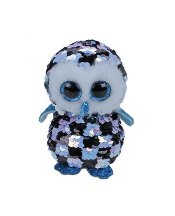 ty inc. TY BOOS Flipables TOPPER - cekinowa niebiesko czarna sowa 24cm 36799