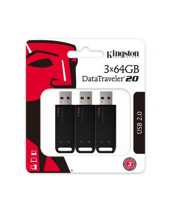 Zestaw pendrivów Kingston DataTraveler 20 3pk DT20/64GB-3P (64GB; USB 2.0; kolor czarny)