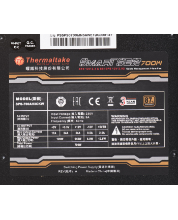 Zasilacz Thermaltake Smart SE2 PS-SPS-0700MNSAWE-1 (600 W; Aktywne; 120 mm)