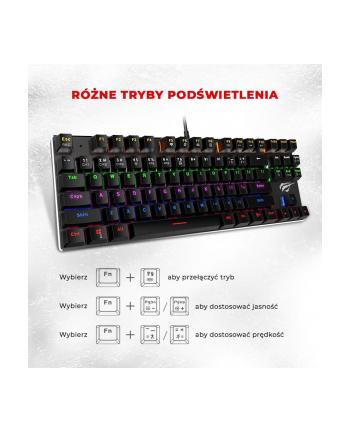 Klawiatura HAVIT KB435L (mechaniczna; USB; (US); kolor czarny
