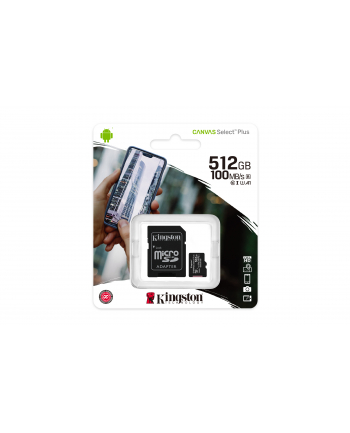Karta pamięci z adapterem Kingston Canvas Select Plus SDCS2/512GB (512GB; Class 10  Class U1  V10; + adapter)