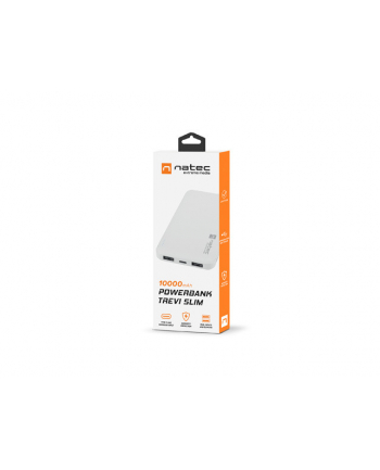 Power Bank NATEC Extreme Media Trevi Slim NPB-1539 (10000mAh; microUSB  USB typ A  USB-C; kolor biały)