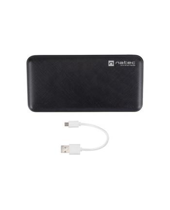Power Bank NATEC Extreme Media Trevi Slim NPB-1542 (10000mAh; microUSB  USB typ A  USB-C; kolor czarny)