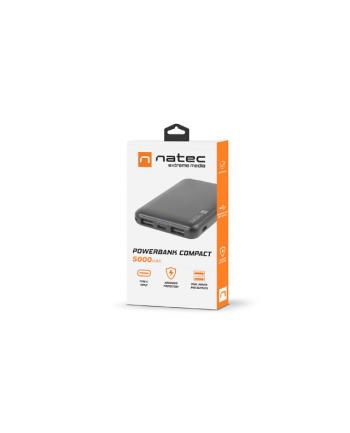 Power Bank NATEC Extreme Media Trevi Compact NPB-1544 (5000mAh; microUSB  USB typ A  USB-C; kolor czarny)