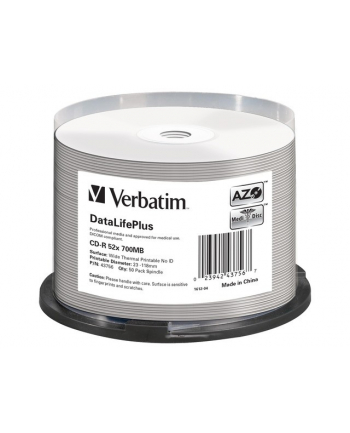 verbatim CDR 700MB DL+ AZO Thermal printable medi disc (Cake 50) NO ID