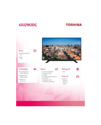 toshiba Telewizor 43 cale 4K 43U2963DG