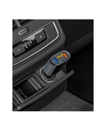 TE18 Ładowarka samochodowa USB / QC3.0 / USB-C (ze wskaźnikiem naładowania akumulatora)