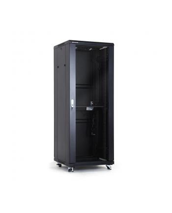 Szafa montażowe A-LAN SS-32U-600-800-01-C (32U; 19''; 1605mm / 600mm / 800 mm; Szklane; 600 kg; kolor czarny)