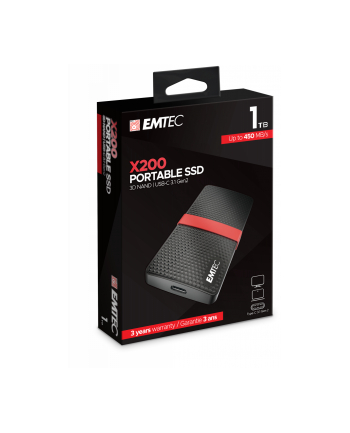Emtec X200 Portable SSD 1TB Solid State Drive(Black / Red, USB 3.2 C (5 Gbit / s))