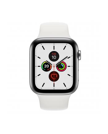 Apple Watch S5 Stainless steel 44mm silver - Sport bracelet white MWWF2FD / A