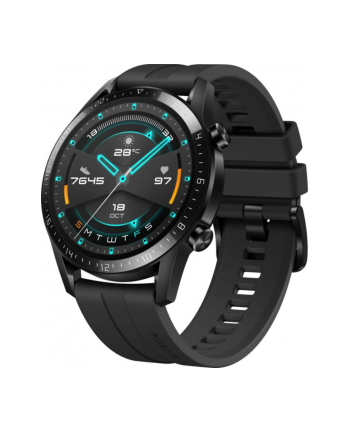 Huawei Watch GT2 46mm sport watch (black, Bracelet: Matte Black, fluorine rubber)