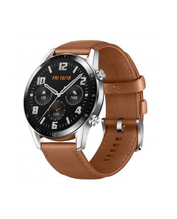 Huawei Watch GT2 46mm Classic, smart watch(silver, Bracelet: Pebble Brown, leather)