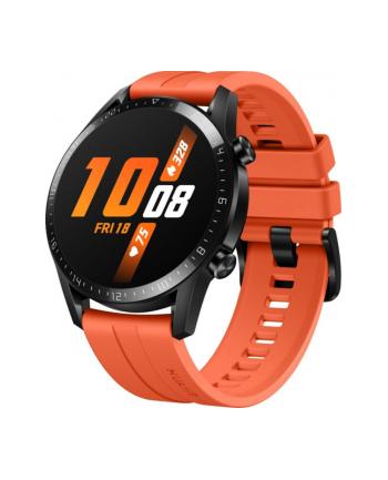 Huawei Watch GT2 46mm sport watch(black, Bracelet: Sunset Orange, fluorine rubber)