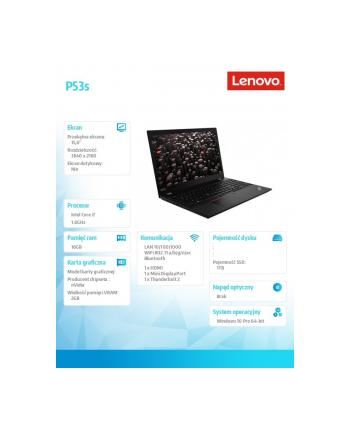 lenovo Mobilna stacja robocza ThinkPad P53s 20N6002SPB W10Pro i7-8565U/8GB+8GB/1TB/P520 2GB/15.6 UHD/Black/3YRS OS