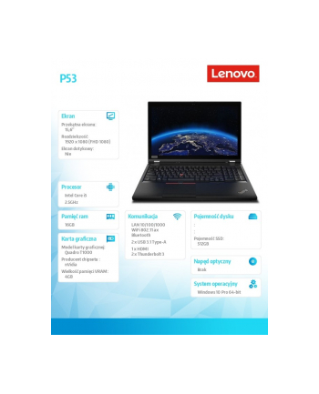 lenovo Mobilna stacja robocza ThinkPad P53 20QN0038PB W10Pro i5-9400H/8GB+8GB/512GB/T1000 4GB/15.6 FHD/3YRS OS