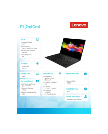 lenovo Mobilna stacja robocza ThinkPad P1 Gen 2 20QT0029PB W10Pro i7-9750H/16GB/512GB/T1000 4GB/15.6 FHD/3YRS OS