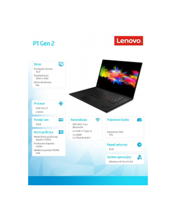 lenovo Mobilna stacja robocza ThinkPad P1 Gen 2 20QT002JPB W10Pro i7-9850H/16GB+16GB/1TB/T2000 4GB/15.6 UHD/3YRS OS