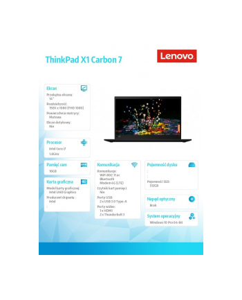 lenovo Ultrabook ThinkPad X1 Carbon7 W10Pro i7-8565U/16GB/512GB/Int/14.0FHD/black/3yrs os