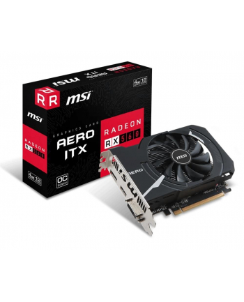 MSI RX 560 AERO ITX 4G OC MSI Radeon RX 560 AERO ITX 4G OC, 4GB, DL-DVI-D/HDMI/DP/ATX/FAN