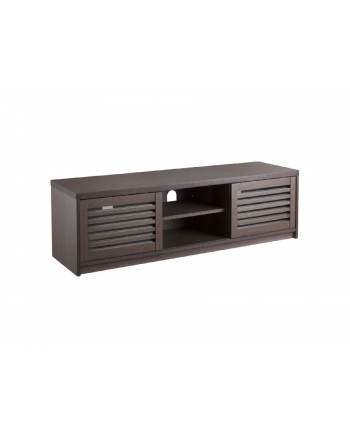 MACLEAN MC-874 TV Stand Table with Sliding Foors max. 65in Chipboard Tempered Glass Elegant Walnut Colour