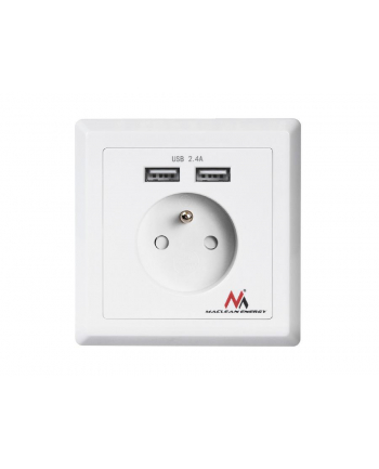 MACLEAN MCE251 Built-in power socket with 2xUSB USB 5V 2.4A 86x86mm