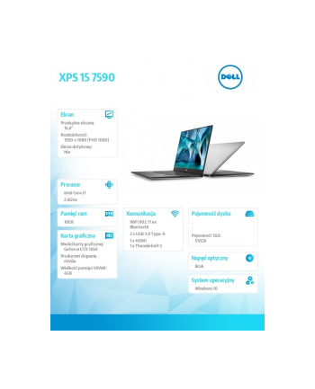 dell Notebook XPS 15 7590 Win10Pro i7-9750H/SSD512GB/16GB/GTX1650/15.6 FHD/Silver/Backlit Kb/2Y NBD