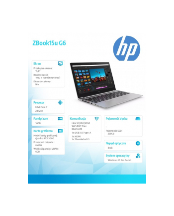 hp inc. Notebook ZBook 15 G6 i7-9850H 256/16/W10P/15,6 8JL48EA