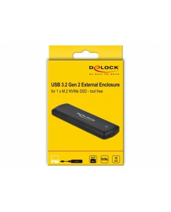 DELOCK OBUDOWA SSD ZEWNĘTRZNA M2 NVME PCIE USB TYPE-C 32 GEN2 BEZNARZĘDZIOWA