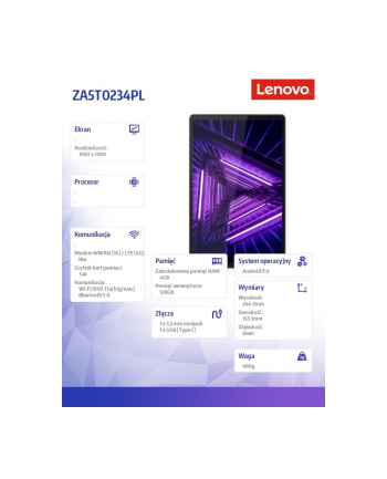 lenovo Tablet M10 G2 ZA5T0234PL Android P22T/4GB/128GB/INT/10.3 FHD/IronGrey/2YRS CI